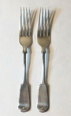 "John Round & Son 2 Silverplate Dinner Forks Fiddle Pattern 6 3/4"" long."