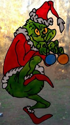 The Grinch With Decorations Faux Stained Glass Window Cling