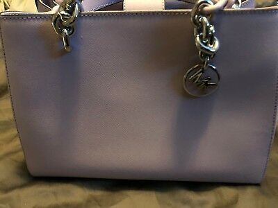 2c84db6db580a9 MICHAEL KORS CYNTHIA Medium Saffiano Leather Satchel Light Quartz ...