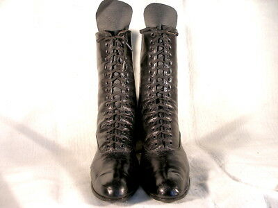 Vintage Edwardian Period High Ankle Black Leather Lace Up Boots US 8