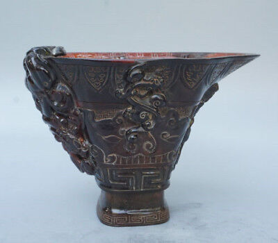 Chinese Exquisite Hand-carved Ancient dragon carving OX Horn cup