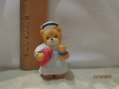 Lucy & Me Enesco Nurse Bear Figurine with Hot Water Bottle Lucy Rigg 1992
