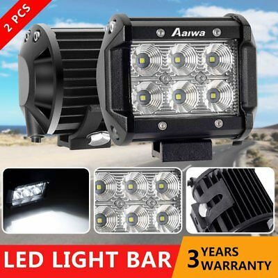 2x 4inch 30W Philips FLOOD LED Work Light Bar Off Road Reverse Worklight 12V/24V