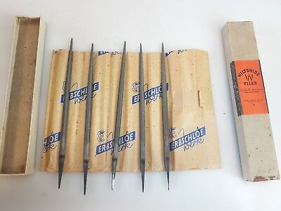 "5 Boxed Mint 6"" Vintage Australian Wiltshire Round Files Antique Tools"