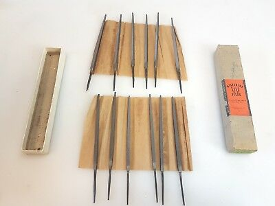 "12 Boxed Mint 4"" Vintage Australian Wiltshire Assorted Files Antique Tools"