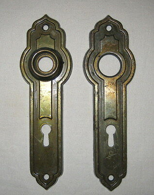 Matching Antique Steel Tudor Arts & Crafts Door Knob Back Plates With Key Holes
