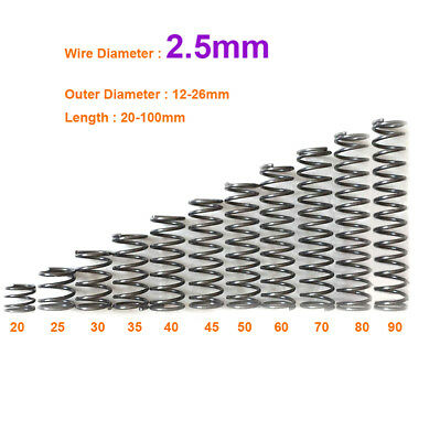 Spring Steel Small Compression Spring 12-26mm OD x 20-100mm Long 2.5mm Wire Dia.