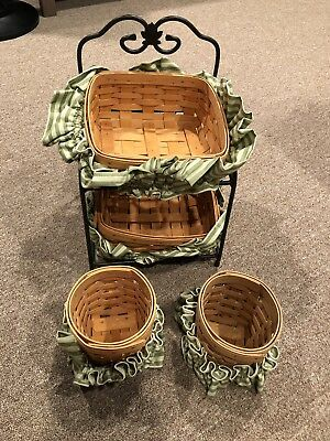 Longaberger Basket And Two-tier Wrought Iron Basket Stand
