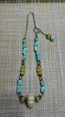 Vintage STERLING SILVER,Turquoise,Cut Color Glass and Carved Stone Necklace