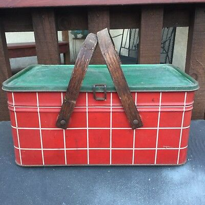 Vintage Salerno Finest Cookies Crackers Tin Picnic Basket Red White Green