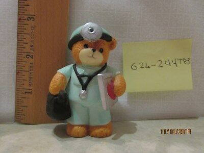 Lucy & Me Enesco Doctor in Scrubs Bear w heart medical chart Figurine Lucy Riggs