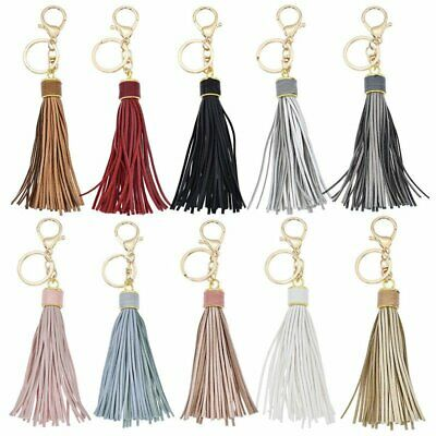 Fashion PU Leather Tassel Key Chain Key Ring For Women Bag Charms Accessories