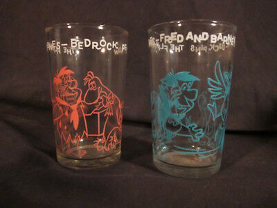 2 Vintage Fred Flintstone Welch's Jelly Jar Glasses - Great Shape