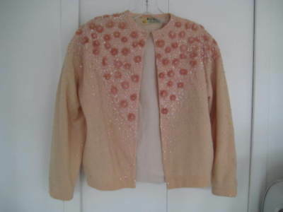 Vtg 50s Sweater Metallic Pink Sequins & Beads Pinup Banff size small Rockabilly