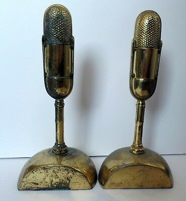Pair of Vintage Brass Microphone Bookends Mid Century Modern - RCA 77 Radio Mic