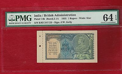 INDIA /BRITISH 1 RS KGV AU/ UNC PMG 64 Rare ) EPQ With Counterfoil Variety