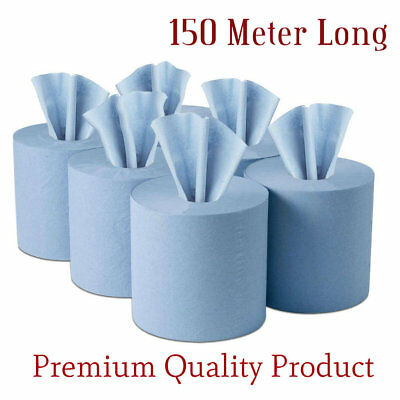 150 Meter Long 2 PLY BLUE EMBOSSED CENTRE FEED PAPER WIPE ROLLS