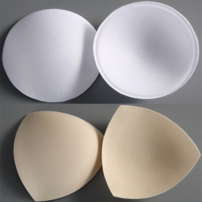 1 Pair Insert Sewing In Bra Pad Foam Soft Cup Padded Triangle Round Removable