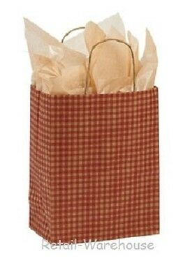 """Paper Shopping Bags 100 Red Gingham Gift Retail Merchandise  8 x 4 ¾ x 10 ½"""" Cub"""