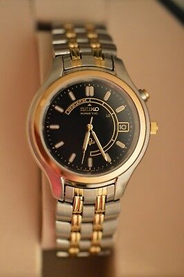 Seiko Kinetic Sapphire Crystal Stainless Steel Base Metal Wristwatch 5M42-0A19