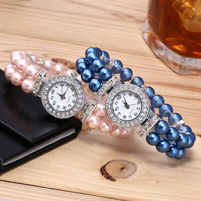Fashion Women's Luxury Pearl String Strap Watch Rhinestone Quartz Wrist Watches
