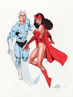 Scarlet witch & Quicksilver! Original Art by MC Wyman