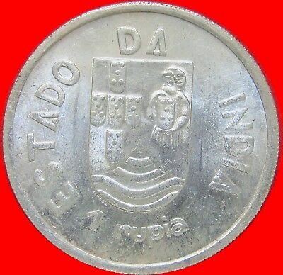 1935 India (Portugese) 1 Rupia Silver Coin  One Year Type Large Size Bu 095