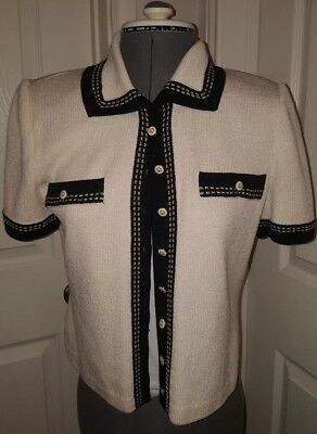 St John Collection by Marie Gray Santana Knit Short Sleeve Blazer button-up sz P