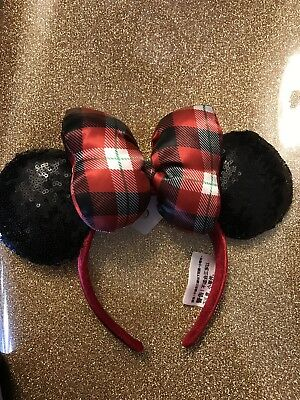New Disney Parks Christmas 2018 headband Ears Minnie black Red Plaid Free Shippi