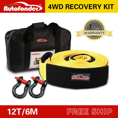 12T Recovery Kit 4WD Heavy Duty 6M Snatch Strap +2Bow Shackle +Leather Gloves
