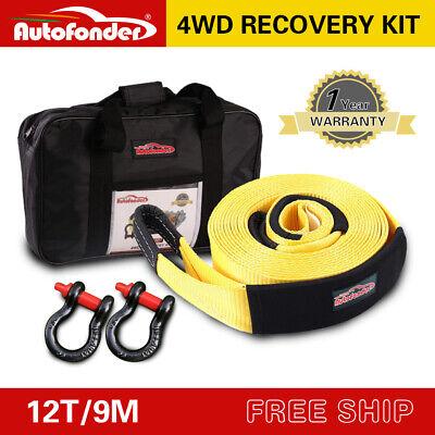 Heavy Duty 12T 9M Recovery Kit 4WD Snatch Strap+2 Bow Shackle +Leather Gloves