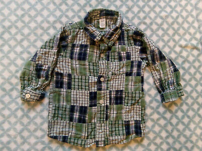 Baby Boys Gap green checked shirt, 12-18 months