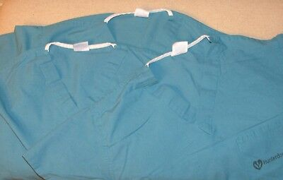 Medline AngelStat LOT OF 3 Unisex Size SMALL Green Scrub Tops *SEE PICS* GUC *A3