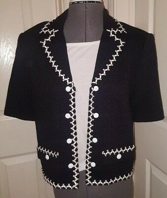 St John Collection by Marie Gray Santana Knit Short Sleeve Blazer Black White  6