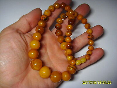Authentic Antique Butterscoth Genuine Baltic Amber necklace 35,20gr. A-819