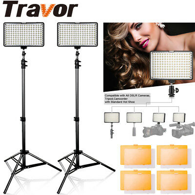 Travor 2-Pack Dimmable 160 LED Video Light Panel Lighting Kit with Light Stand
