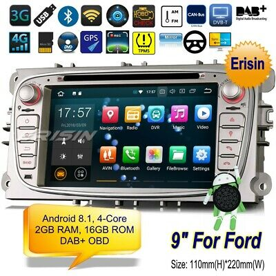 "Android 8.1 DAB+Autoradio Ford Focus C S-Max Galaxy Mondeo Navigatore DTV 7""3809"
