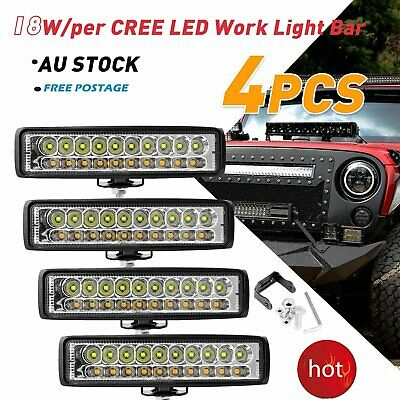 4x 6INCH CREE LED WORK LIGHT BAR Flood OFFROAD 4WD SUV ATV CAR LAMP 12V