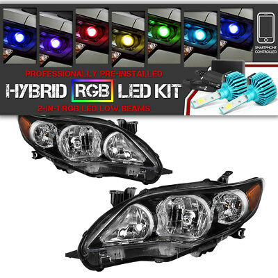 "[RGB LED LOW BEAM] Black ""Factory Style"" Headlights SET 2011-2013 Toyota Corolla"