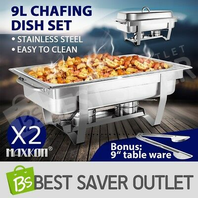 2x 9L Stainless Steel Chafing Dish Bain Marie Bow Food Buffet Heat Warmer Tray