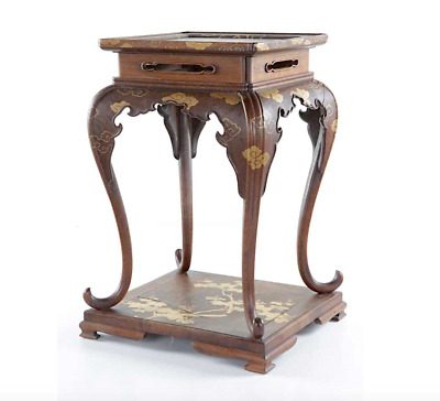 Rare Antique Imperial Japanese Lacquer Masterpiece Side Table two Phoenix