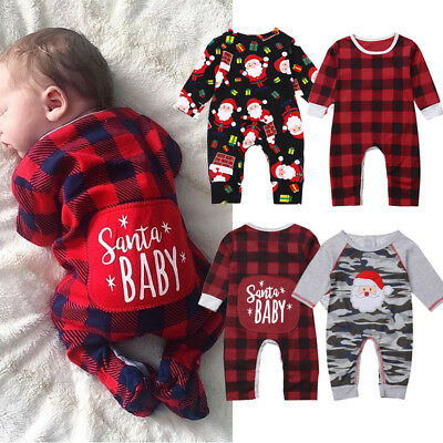 Baby Boys Girls 1st Christmas Romper Long Sleeve Bodysuit Pajamas Clothes Outfit