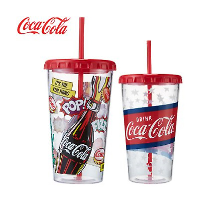 Coca-Cola Graphics Chiller Water Bottle Portable Cup Plastic Straw 680ml (23oz)