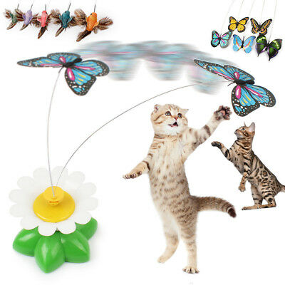 Funny Pet Toy Electric Rotating Bird/Butterfly Rod Pet Cat Kitten Teaser Toys US