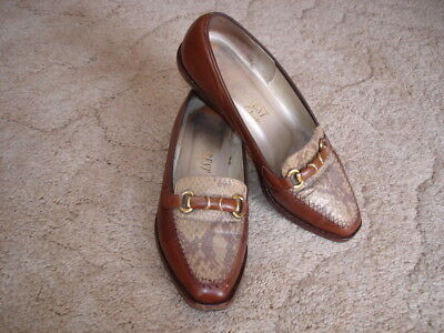 Genuine vintage 80s leather shoes/flats leather stacked heels~ 6½ B~Footrest
