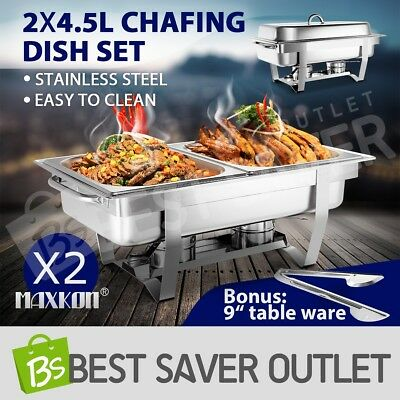 2x Stainless Steel Chafing Dish Bain Marie Bow Food Buffet Warmer Tray 4.5Lx2