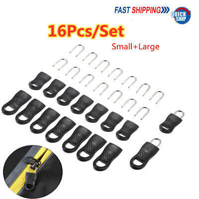 16 Piece Black Replacement Zipper Tag Zip Fixer For Clothes Bag Durable Pull Tab