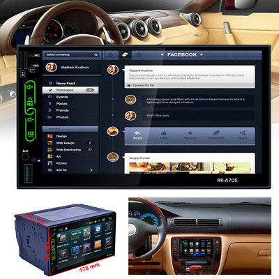 """7"""" TFT Touch Screen 2DIN Car Radio AM FM MP5 Player GPS Android WIFI Bluetooth"""