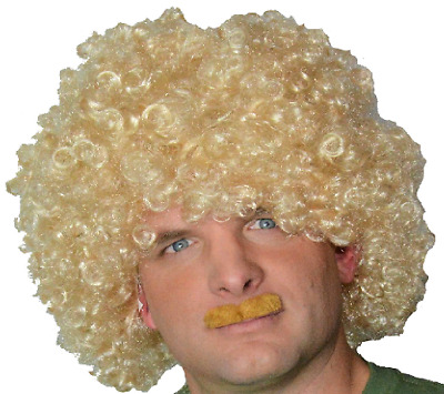 Blonde Afro Style Curly Fancy Dress Wig &  Self Adhesive Moustache.