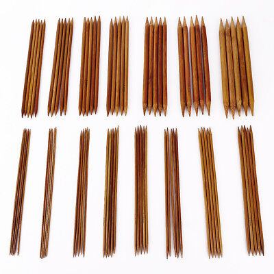 """20cm (8"""") 15 Sets(75pcs) Bamboo Double Pointed Knitting Needles Pin Size 2-10mm"""